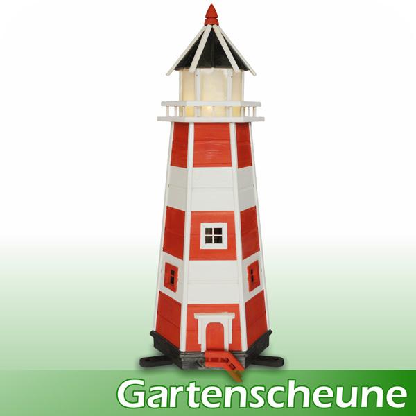 Gro er leuchtturm mit beleuchtung 1 40m rot weiss maxi for Leuchtturm deko garten
