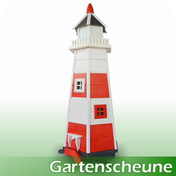 neu leuchtturm deko dekoleuchtturm dekoration holz 107 cm rot wei garten ebay. Black Bedroom Furniture Sets. Home Design Ideas